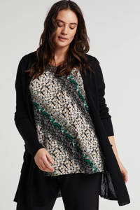 Zhenzi top met all over print groen/beige, Groen/beige