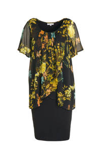 Zhenzi semi-transparante jersey jurk met all over print en volant zwart/geel, Zwart/geel