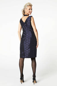 PROMISS jurk jacquard met stippen donkerblauw, Blauw
