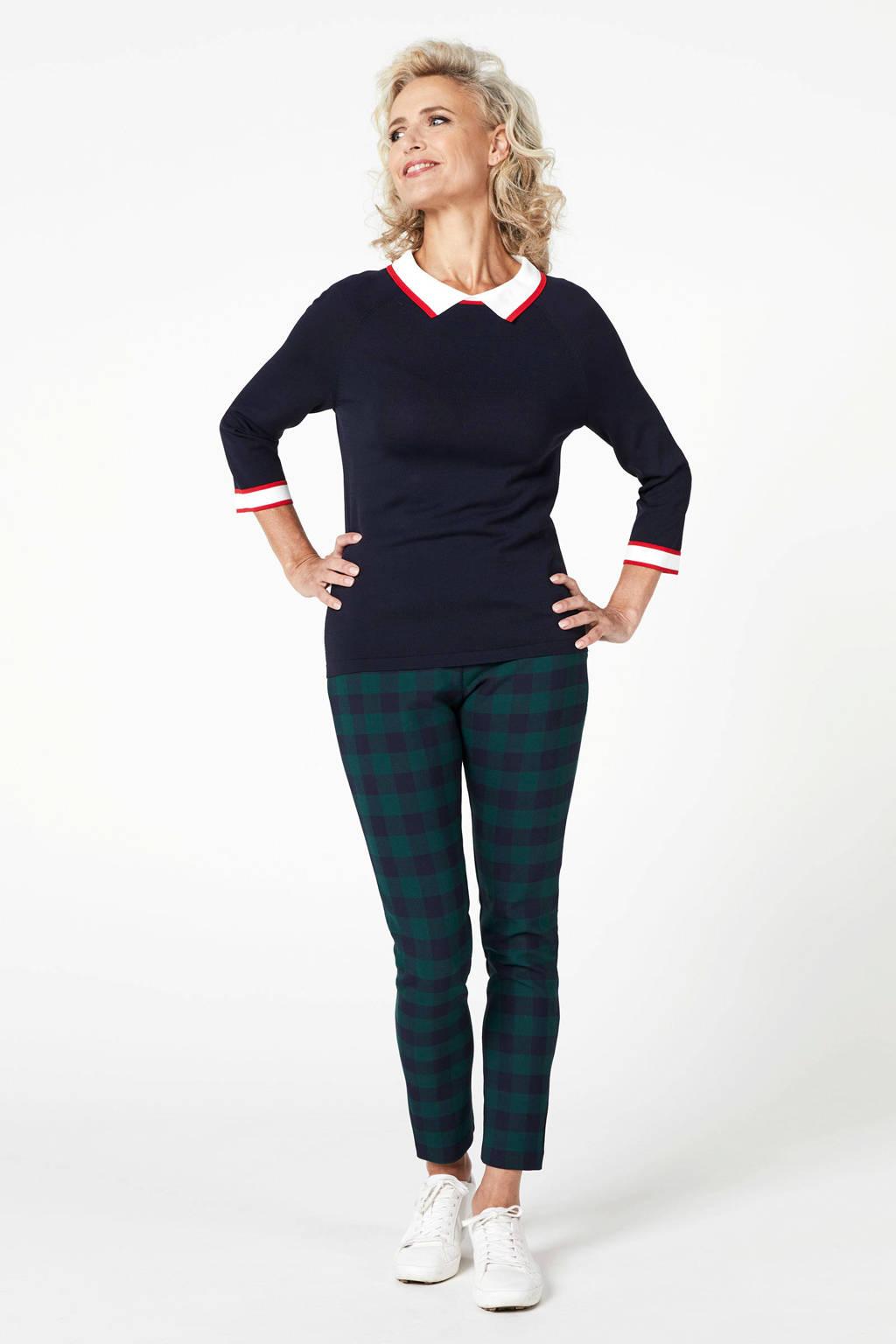 PROMISS geruite slim fit broek groen/zwar/blauw, Groen/zwar/blauw