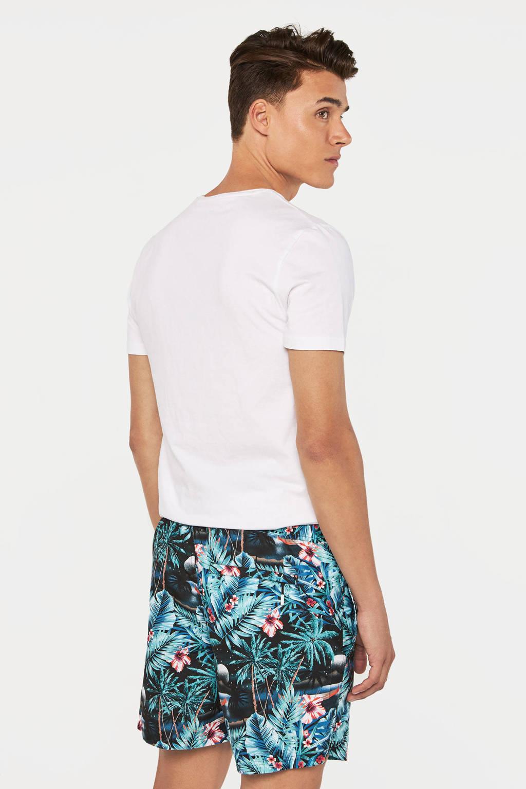 WE Fashion zwemshort met all over print blauw, Blauw/groen