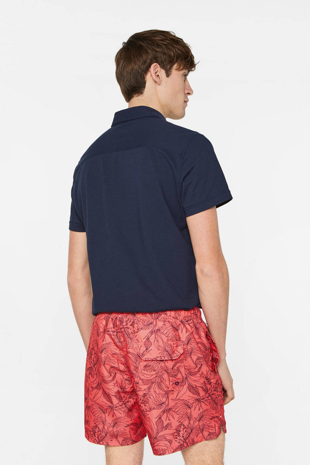 WE Fashion zwemshort met all over print rood, Rood/donkerblauw