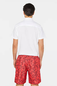 WE Fashion zwemshort met all over print rood/zwart, Rood/zwart