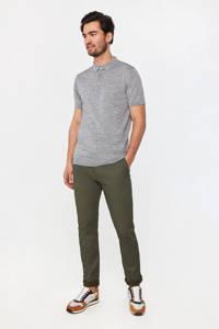 WE Fashion gemêleerde wollen slim fit polo light grey melange, Light Grey Melange
