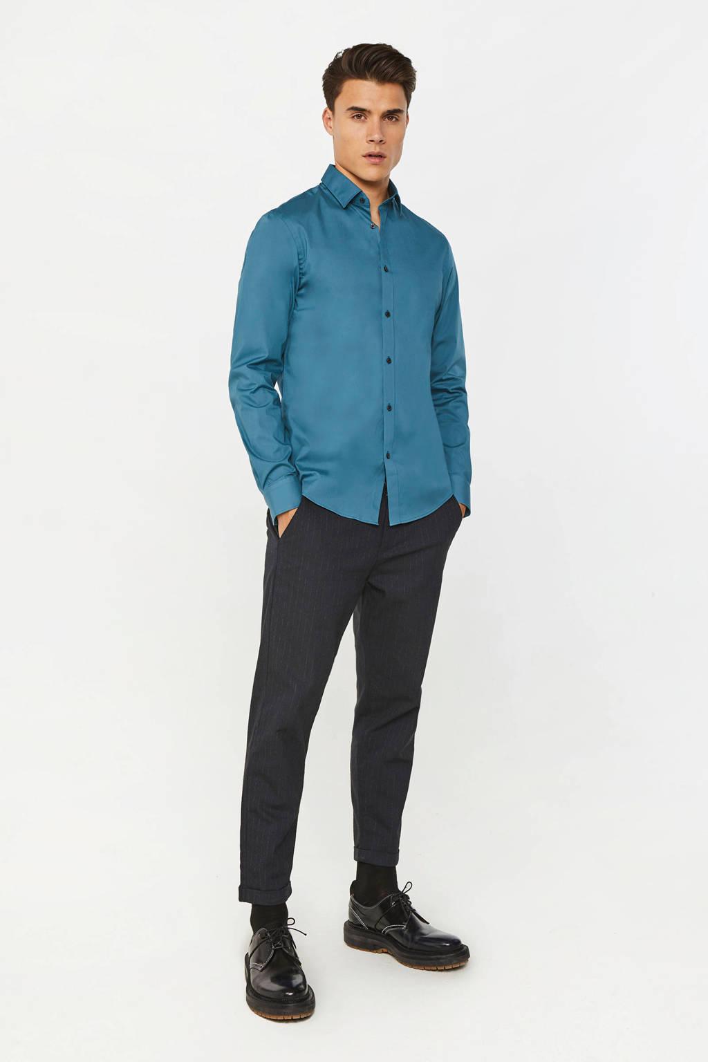 WE Fashion slim fit overhemd petrol blue, Petrol Blue