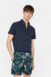 WE Fashion zwemshort met all over print marine/groen, Marine/groen