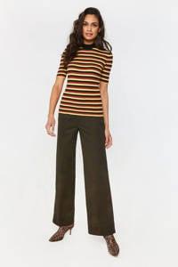 WE Fashion gestreepte ribgebreide top geel/rood/zwart