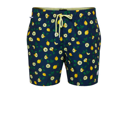 WE Fashion zwemshort met all over print donkerblau