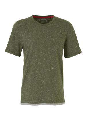 T-shirt olijfgroen/grijs