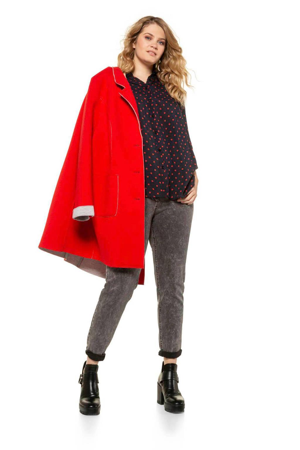 Ulla Popken blouse met hartjes zwart/rood, Zwart/rood