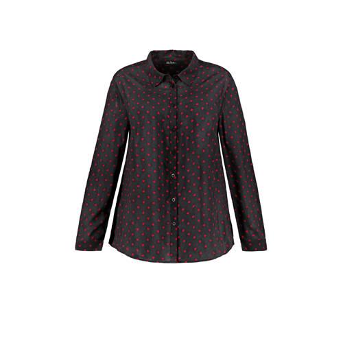 Ulla Popken blouse met hartjes zwart/rood