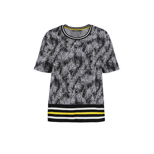 Ulla Popken top met contrastbies zwart/wit/geel