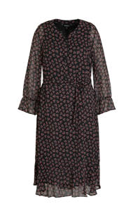 Ulla Popken gebloemde semi-transparante maxi jurk zwart/multi, Zwart/multi