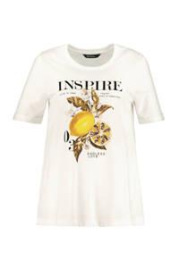 Ulla Popken T-shirt met printopdruk en pailletten wit/multi, Wit/multi