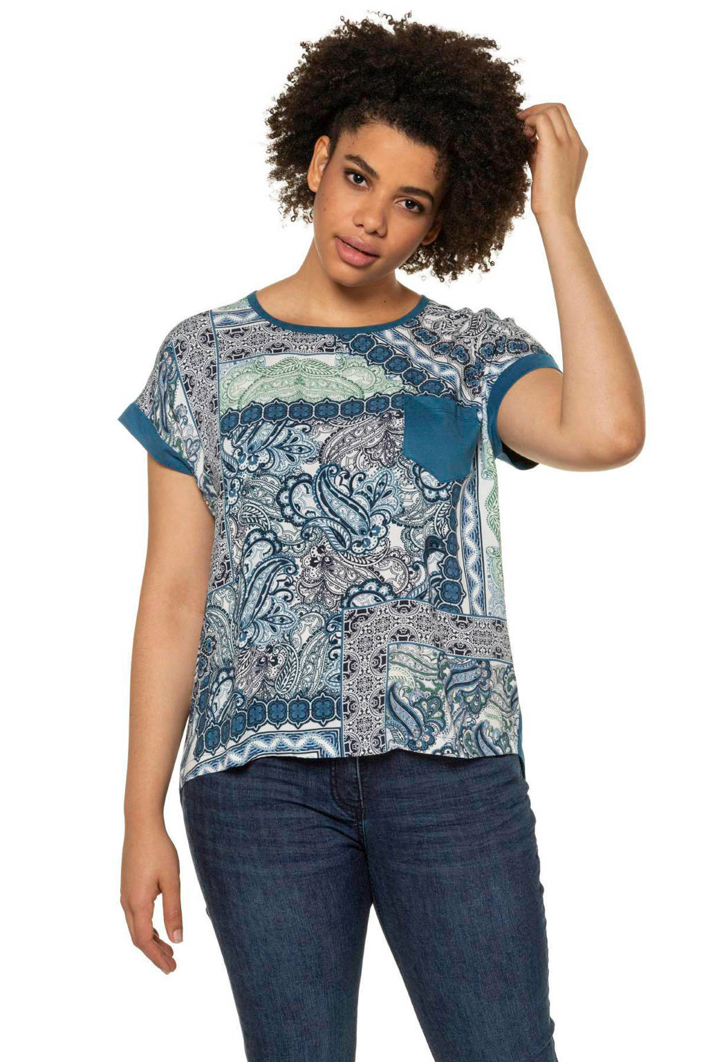 Ulla Popken T-shirt met all over print blauw, Blauw
