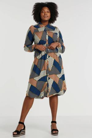 blousejurk Sandy met grafische print mintgroen/blauw