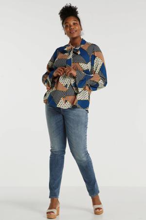 blouse Sandy met grafische print mintgroen
