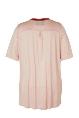 T-shirt Morgan met contrastbies lichtroze/rood