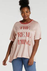 Zoey T-shirt Morgan met contrastbies lichtroze/rood, Lichtroze/rood