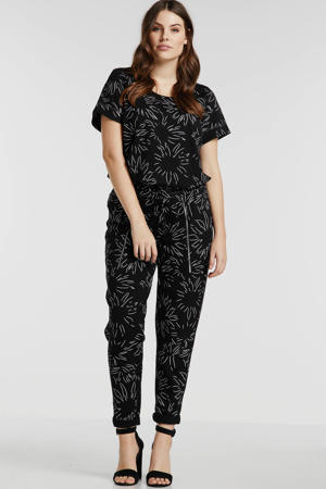 slim fit broek met all over print zwart/wit
