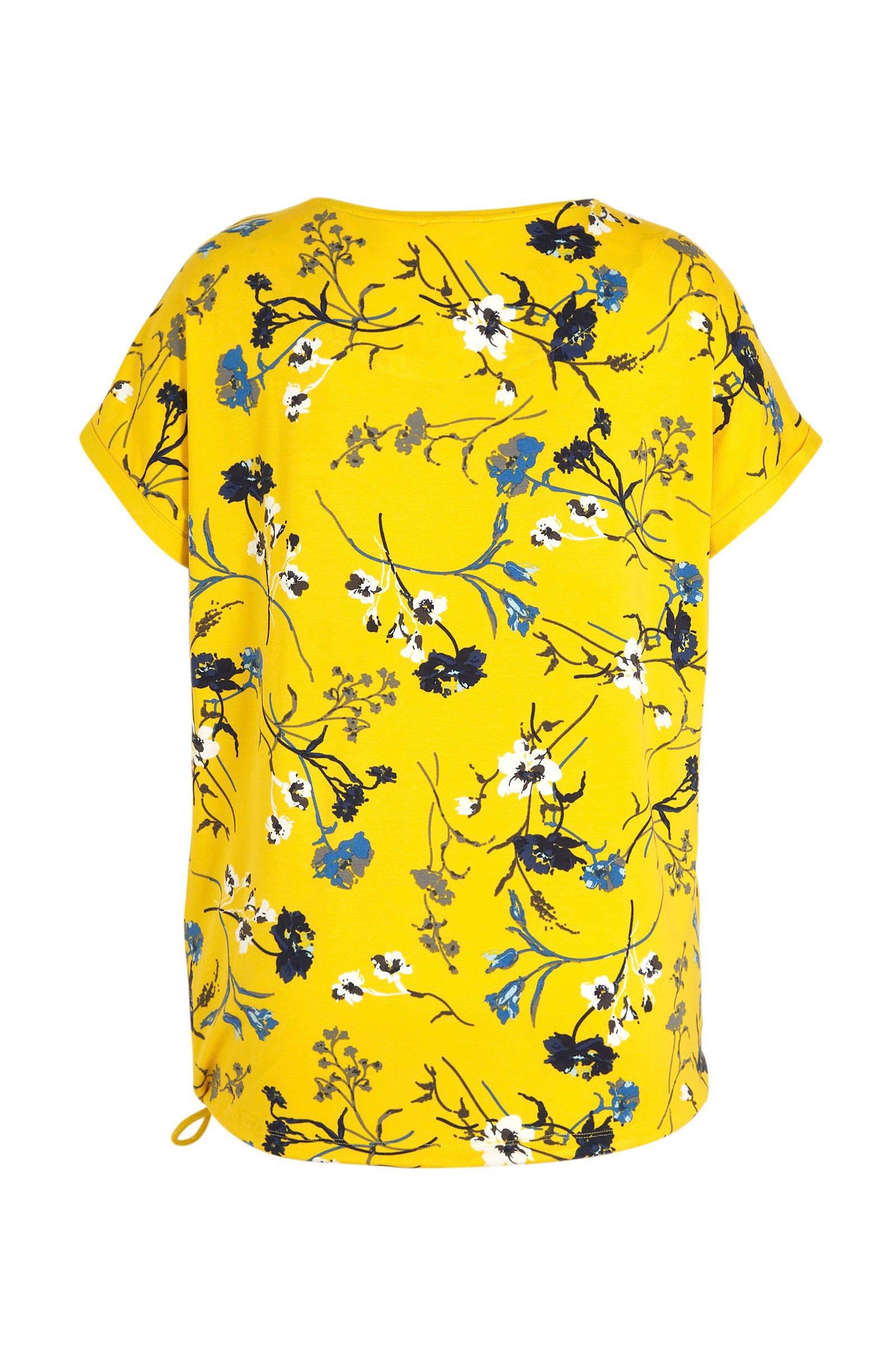 No Secret gebloemd T-shirt geel