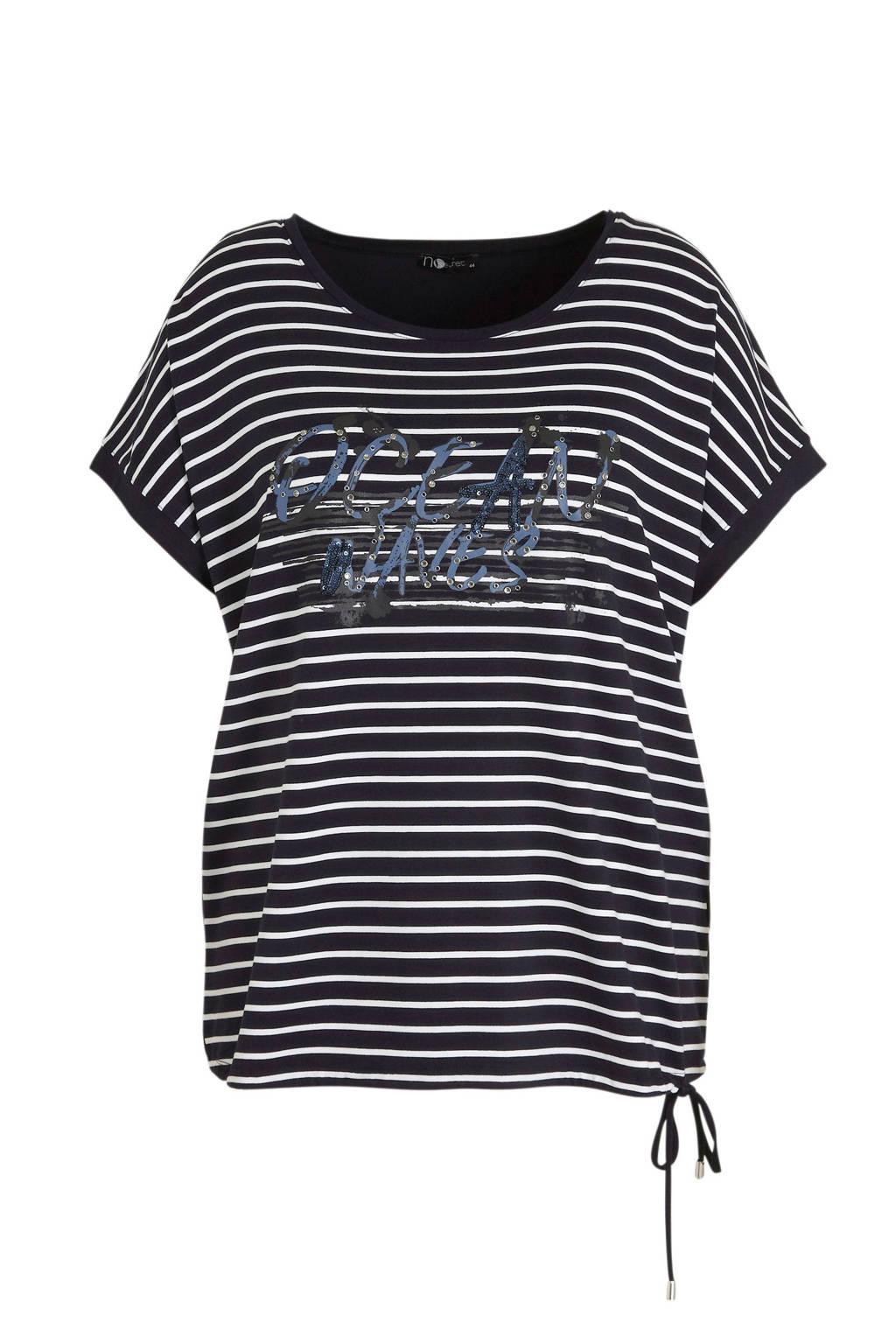 No Secret gestreept T-shirt donkerblauw, Donkerblauw