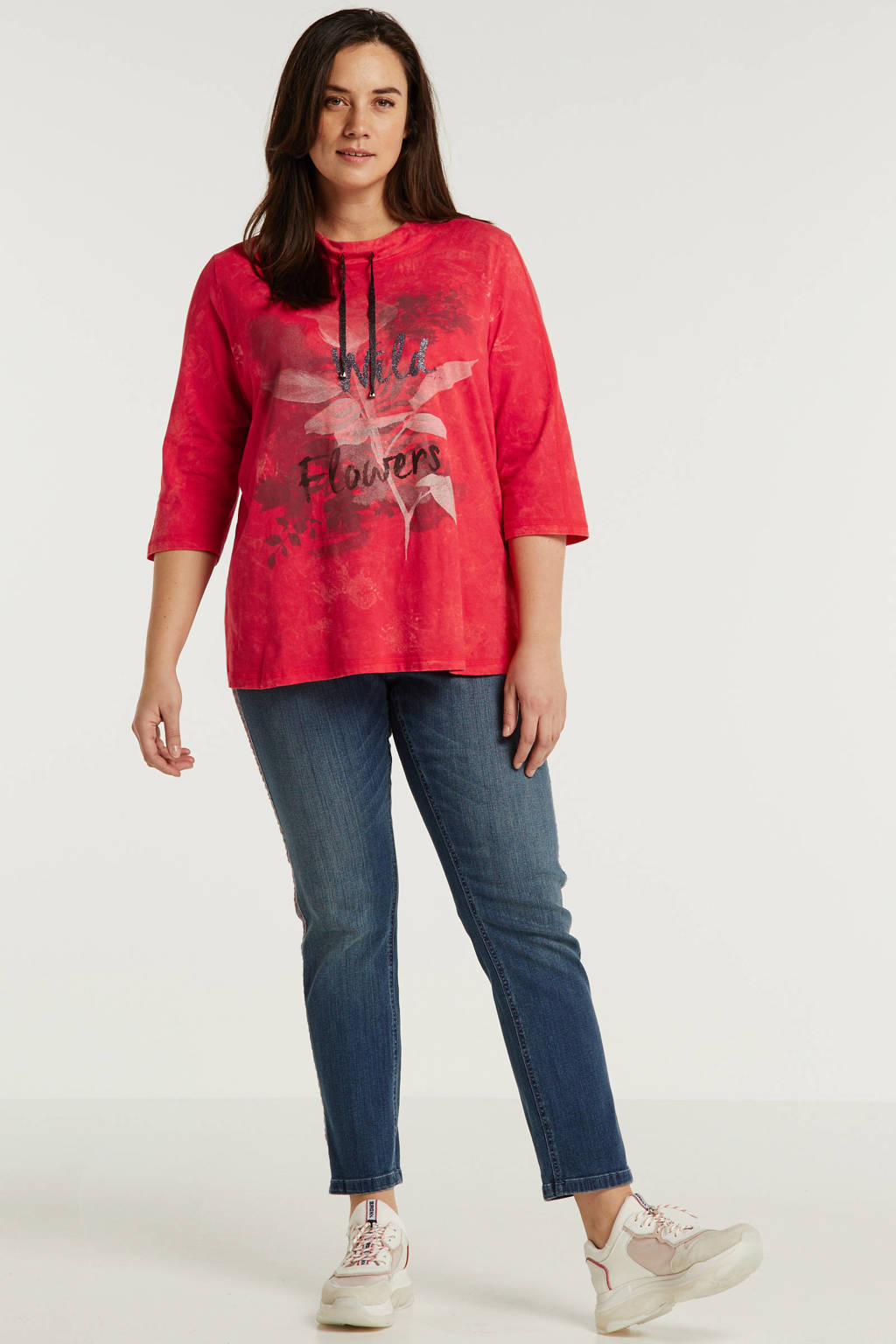 No Secret sweater met printopdruk en glitters fuchsia, Fuchsia