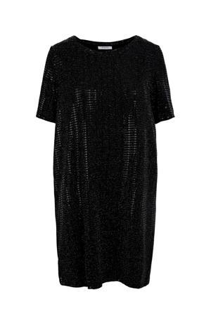 jersey jurk met sierstenen zwart/zilver