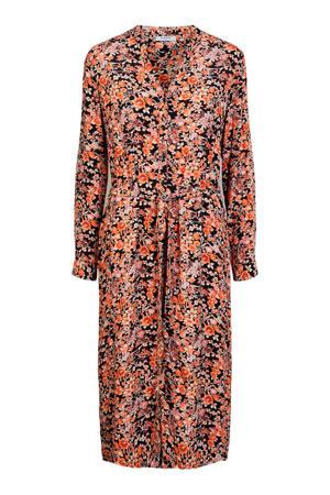 gebloemde blousejurk oranje/zwart