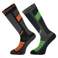 Sinner skisokken (set van 2 paar) zwart/oranje/groen, Grijs