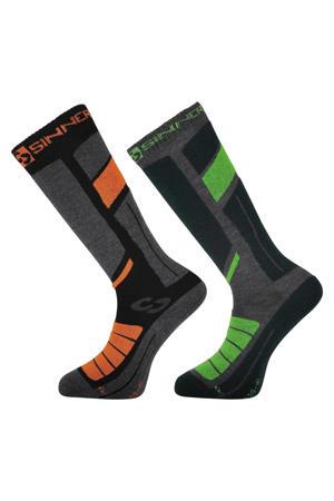 skisokken (set van 2 paar) zwart/oranje/groen
