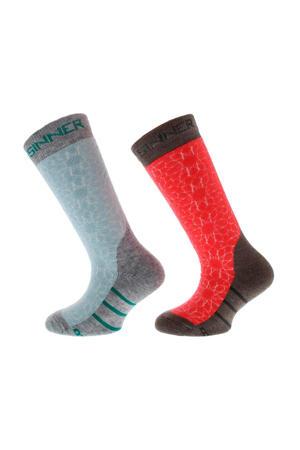 skisokken Stars roze/grijs/blauw