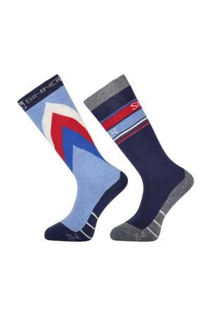 skisokken (set van 2 paar) blauw/rood