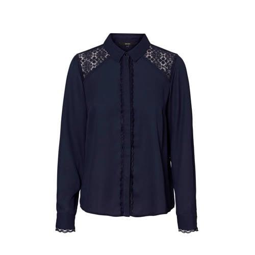 VERO MODA blouse met kant donkerblauw