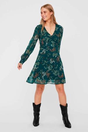 gebloemde semi-transparante jurk groen/blauw/oranje