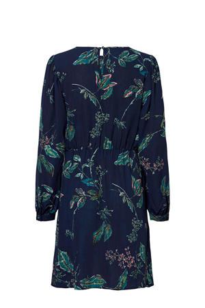 jurk met bladprint en plooien donkerblauw/groen