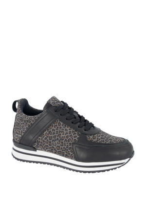 leren sneakers zwart/panterprint