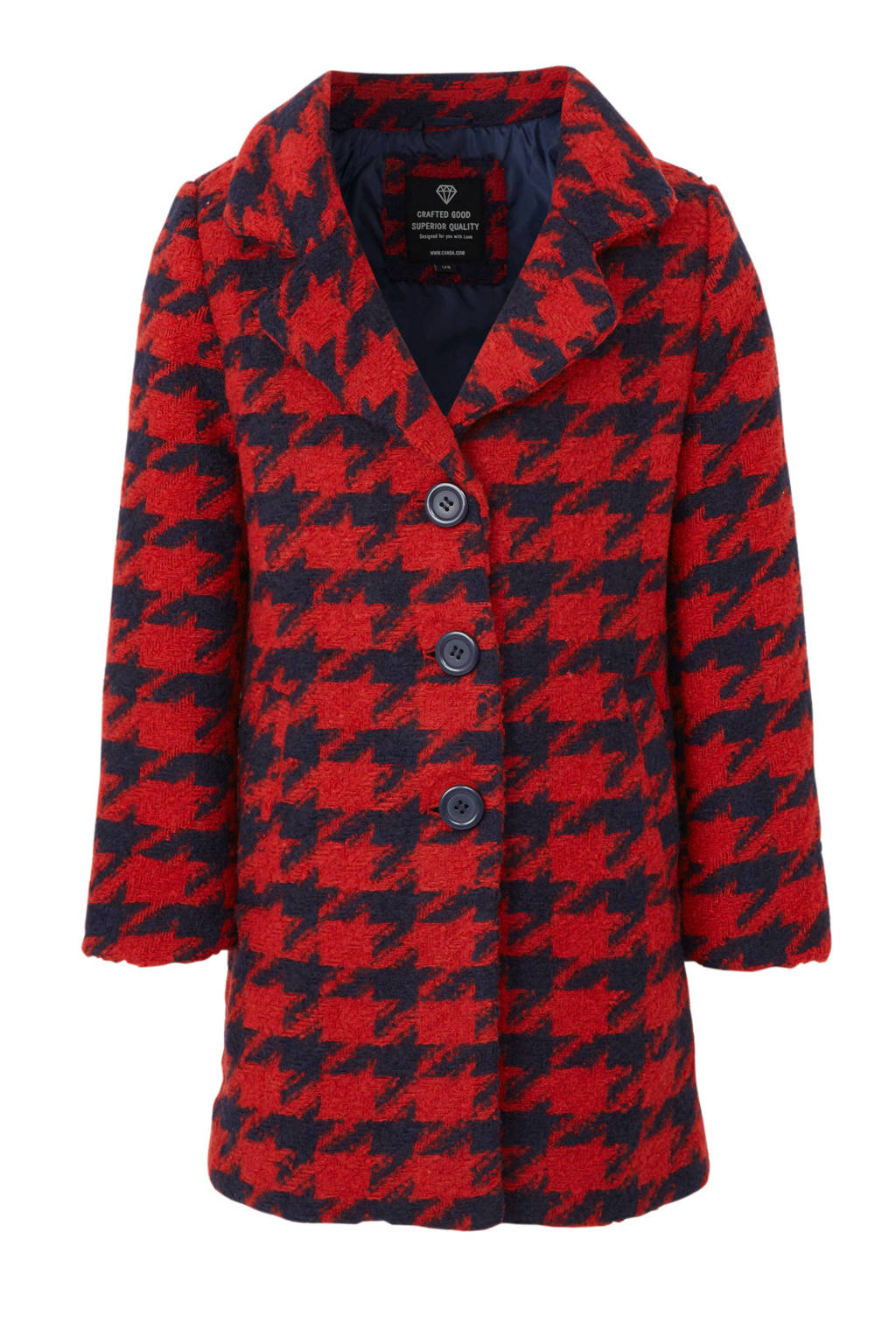 C&A Here & There winterjas met wol en pied-de-poule rood/donkerblauw, Rood/donkerblauw