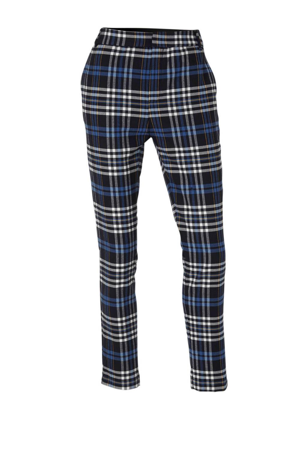 C&A Yessica geruite high waist straight fit pantalon donkerblauw/wit, Donkerblauw/wit