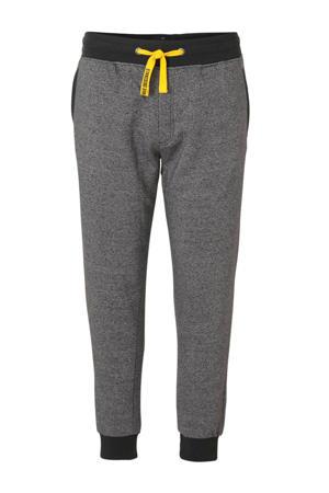 XL Angelo Litrico gemêleerde regular fit joggingbroek grijs/zwart/geel