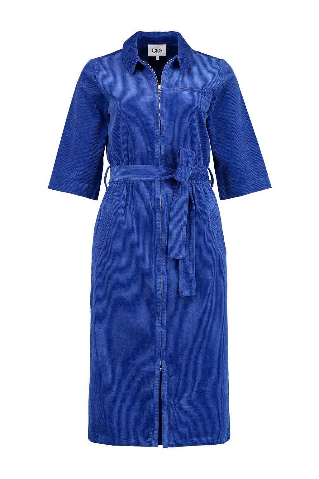 CKS corduroy jurk met ceintuur blauw, Blauw