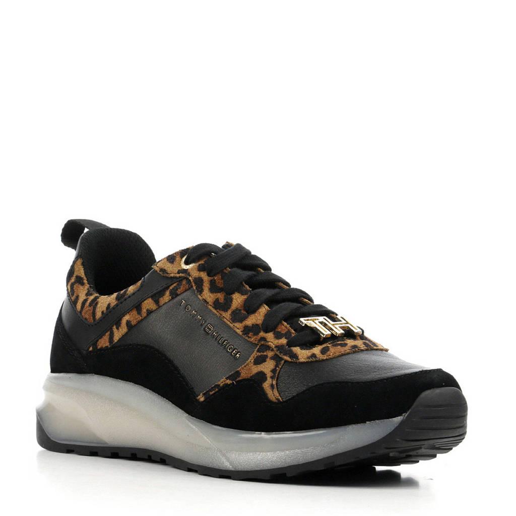 Tommy Hilfiger Leopard Sporty  sneakers panterprint/zwart, Bruin/zwart