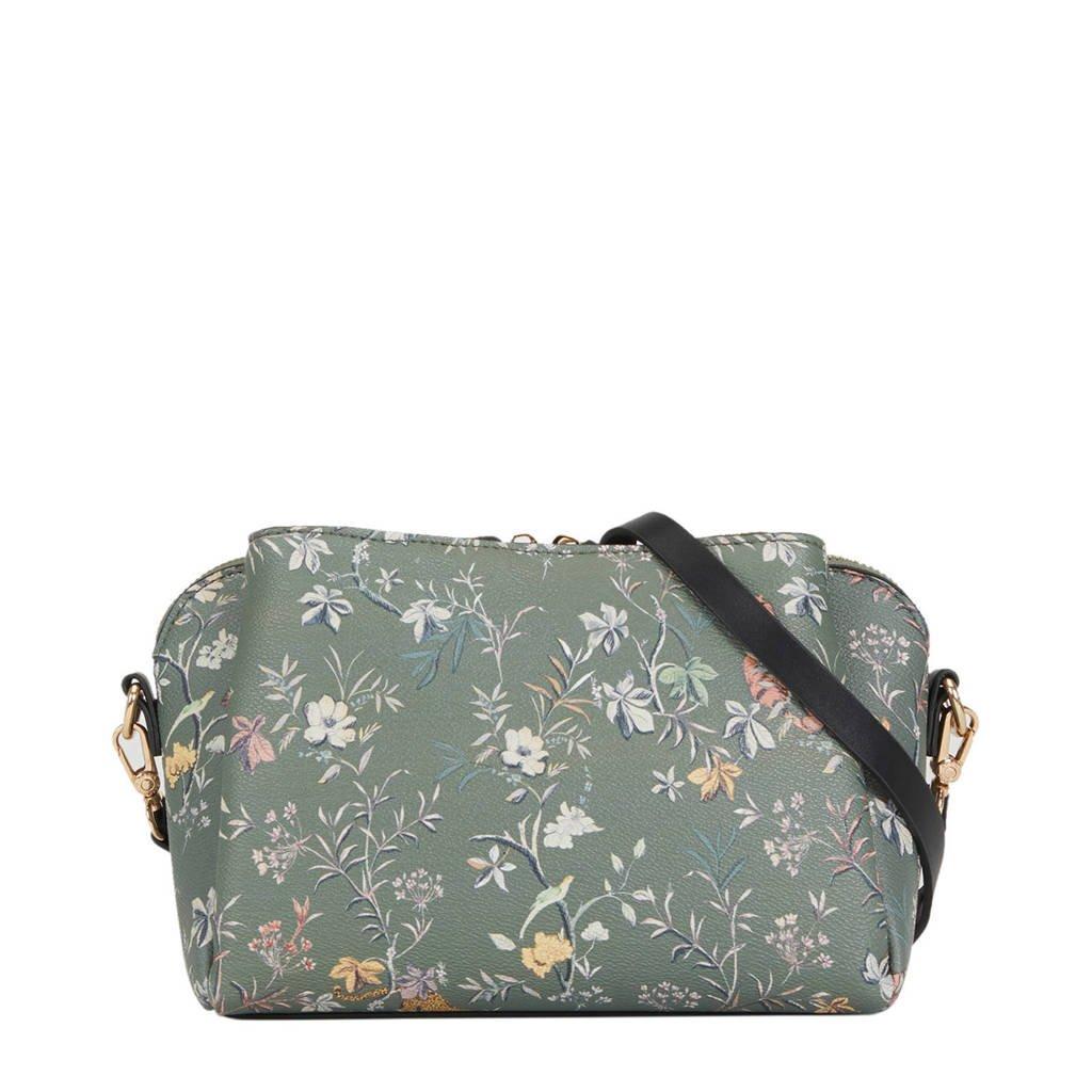 Parfois   crossbody tas kaki met bloemenprint, Khaki