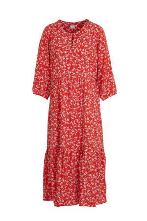maxi jurk Daisy met all over print en plooien rood