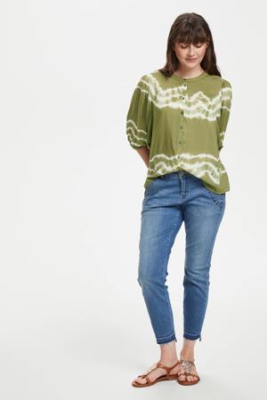 blouse Tarahi met all over print groen