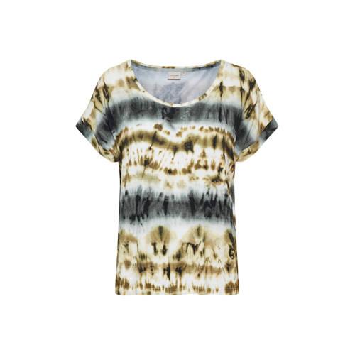 Cream T-shirt Lonnie met all over print beige
