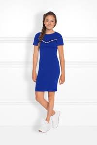 NIK&NIK fijngebreide jurk Jesley Jolie met printopdruk kobaltblauw, Kobaltblauw