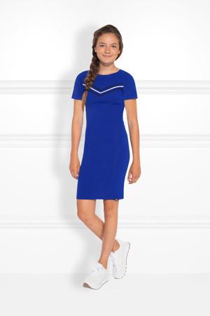 fijngebreide jurk Jesley Jolie met printopdruk kobaltblauw