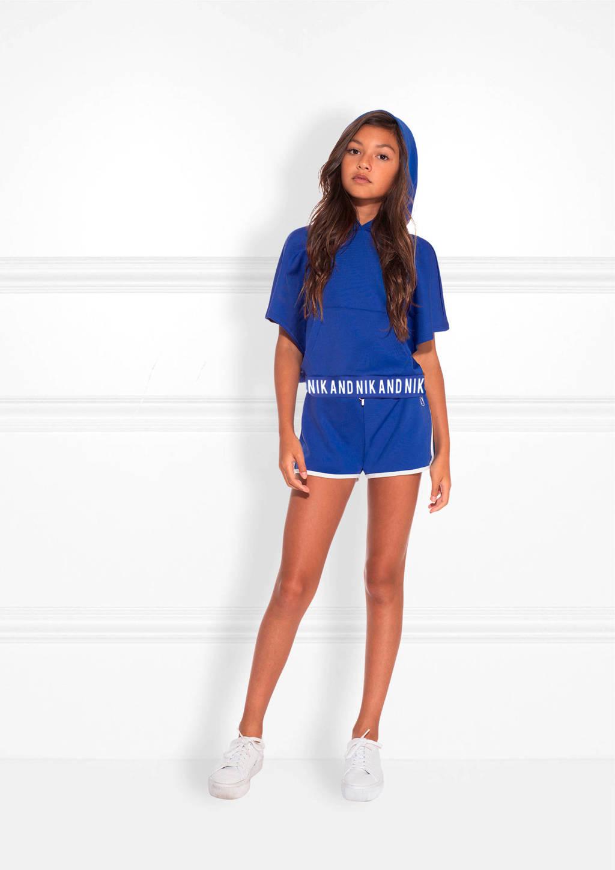 NIK&NIK cropped hoody Lindsey met tekst kobaltblauw, Kobaltblauw