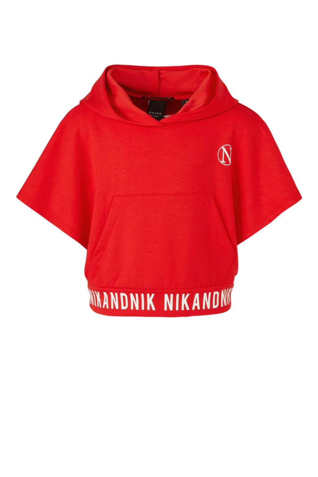 NIK&NIK cropped hoody Lindsey met tekst rood, Rood